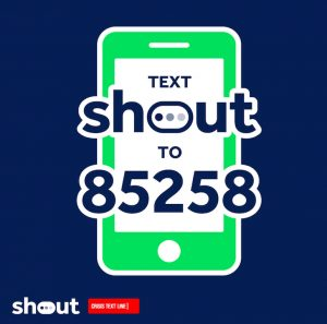 Logo for Give us a Shout, supporting young people with their mental health